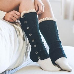 Button Up Sweater Leg Warmers with Crochet Black